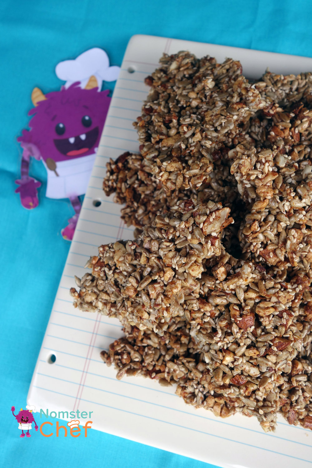 DIY Teacher Appreciation Gift Kids Can Make- Nut and Seed Brittle-notebook plate-Nomster Chef
