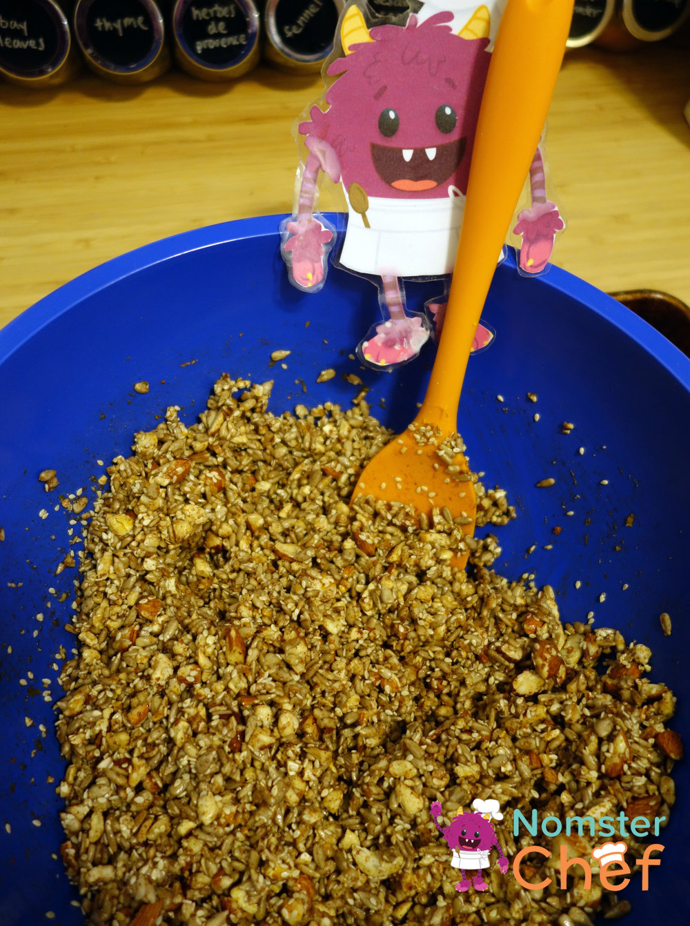 DIY Teacher Appreciation Gift Kids Can Make- Nut and Seed Brittle-stirring brittle-Nomster Chef