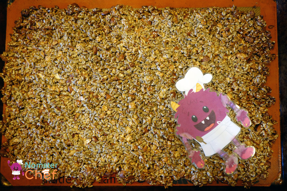 DIY Teacher Appreciation Gift Kids Can Make- Nut and Seed Brittle-brittle on pan-Nomster Chef
