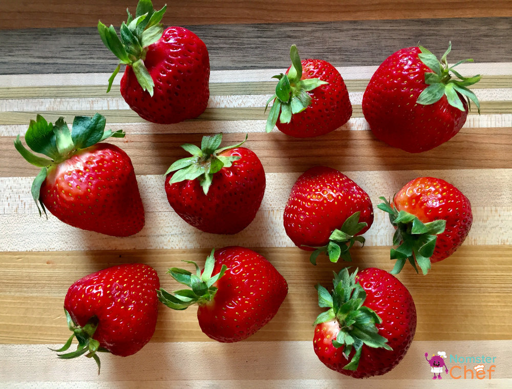 Food Hacks Make Your Own Strawberry Jam - Nomster Chef Blog Recipe- Strawberry on cutting board