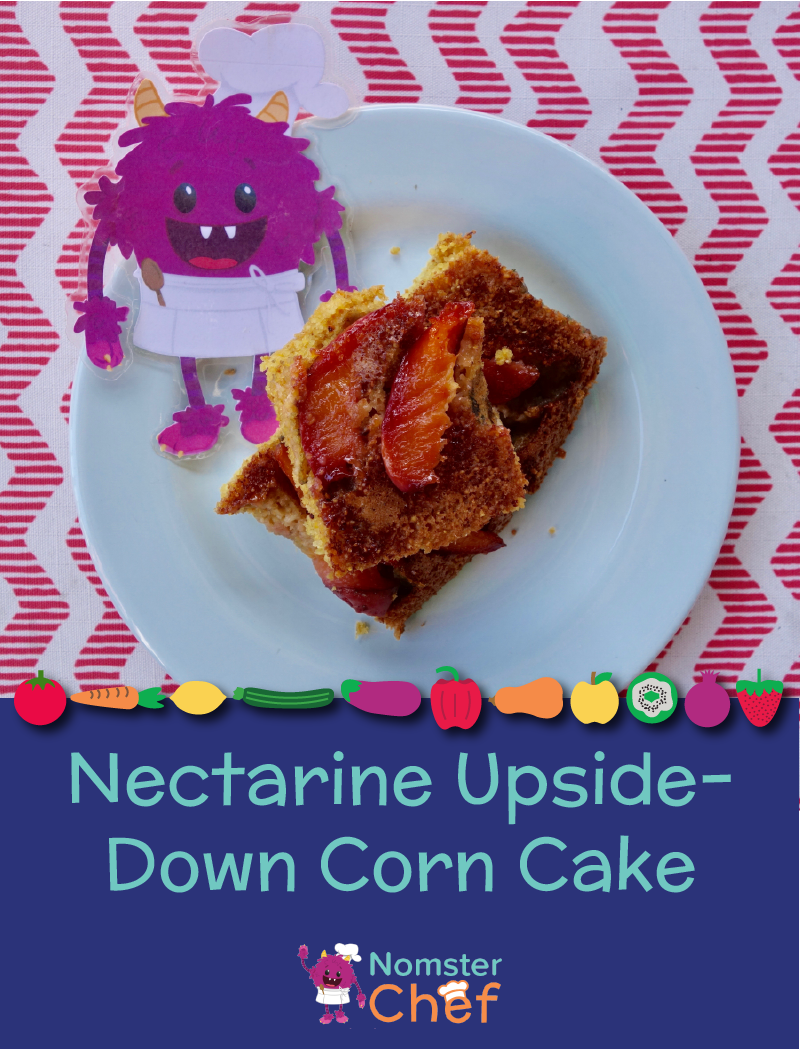 Nectarine Upside-Down Corn Cake - Nomster Chef