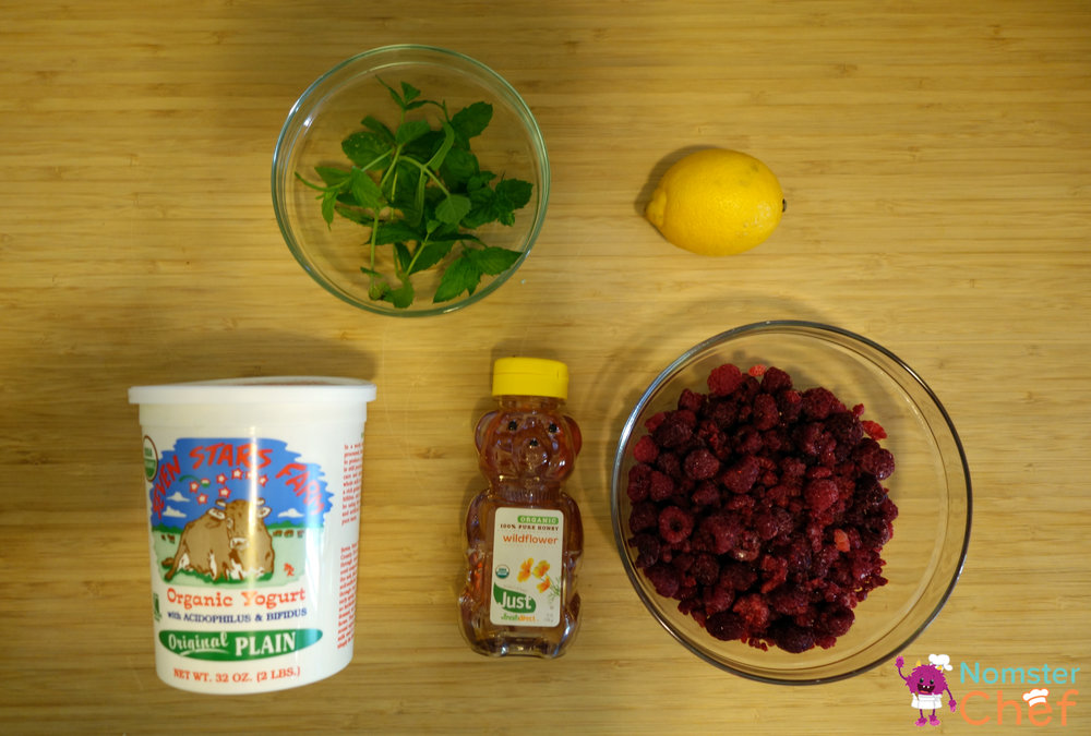 raspberry yogurt pops ingredients- Nomster Chef