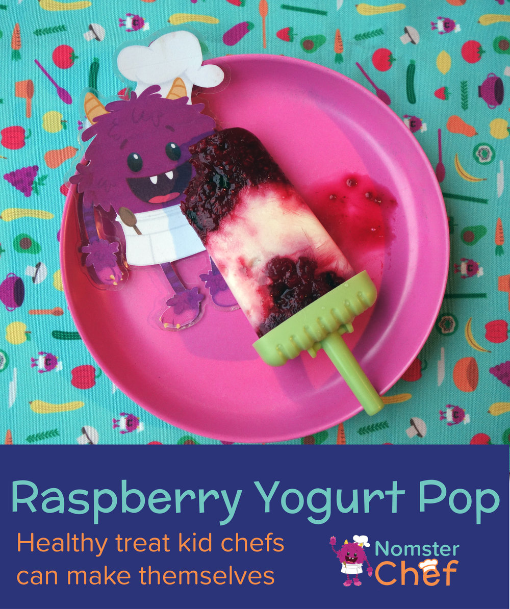 raspberry yogurt ice pops - title image- Nomster Chef