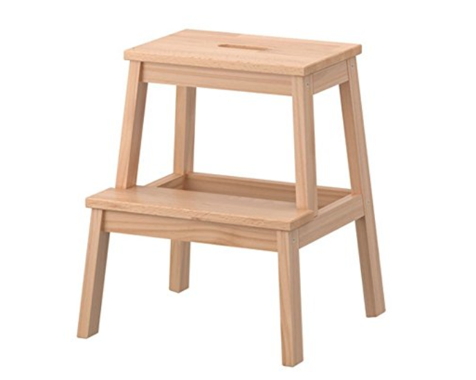 Ikea Wooden Step Stool - This step stool is stylish and sturdy- and tall enough to help all but the smallest kids to reach the counter. Bonus- the untreated raw wood version can be painted to match your kitchen decor!