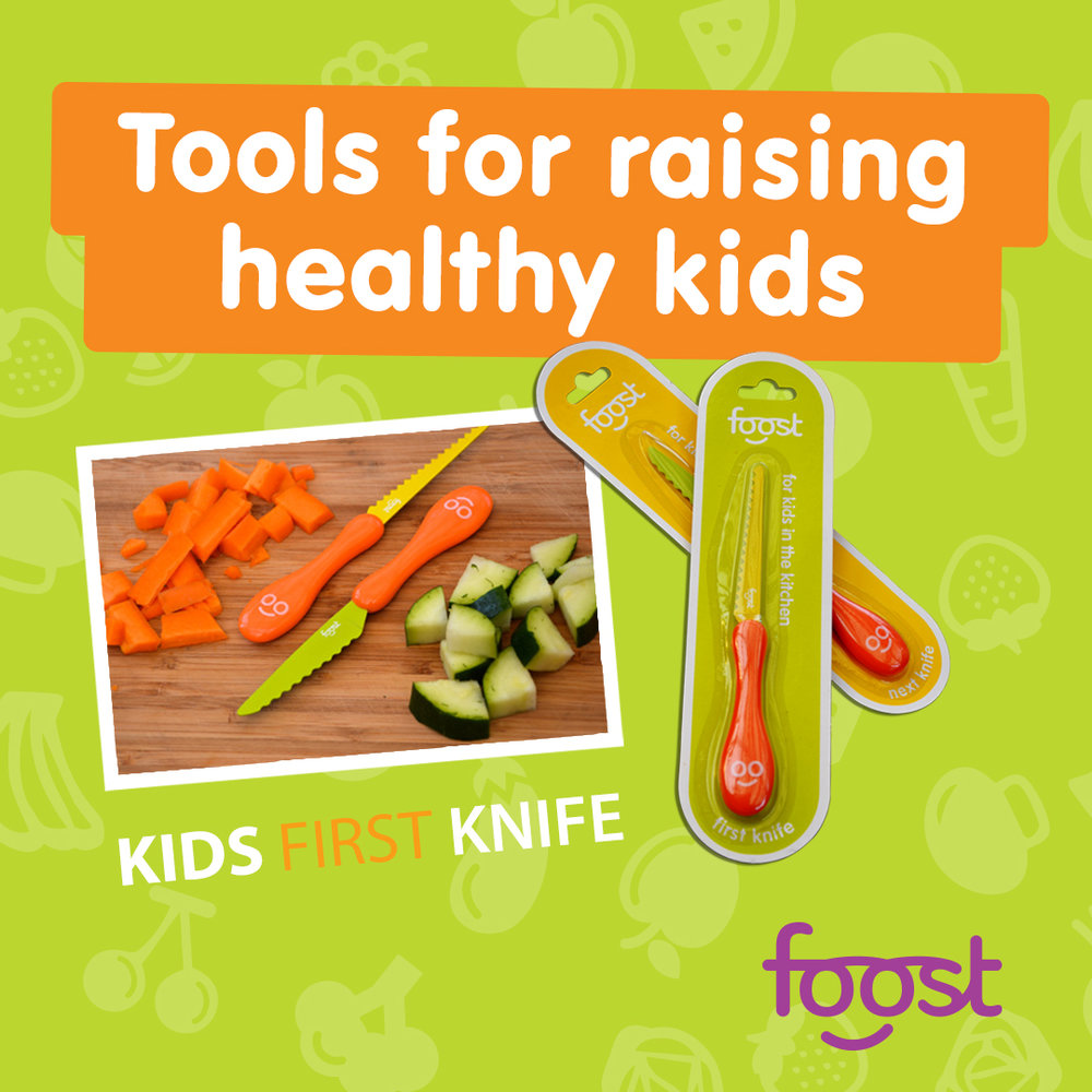 Foost First Knife - These knives hail from Australia and the Foost company, created by a dietician mom. They're designed for kids age 2+, and cut veggies but not fingers!