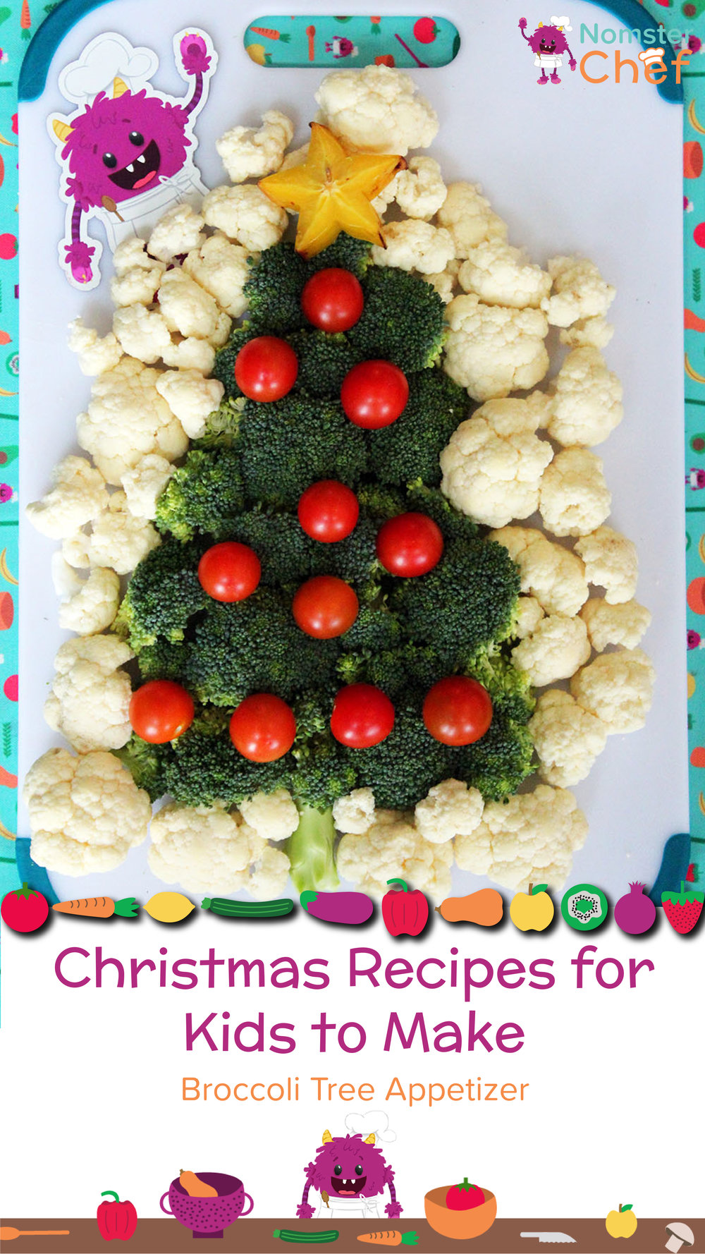 christmas recipes for kids to make broccoli tree appetizer nomster chef 01