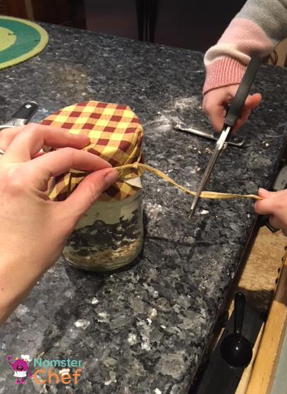 cutting ribbon - Cookie Jar Gift DIY for Kids .jpg