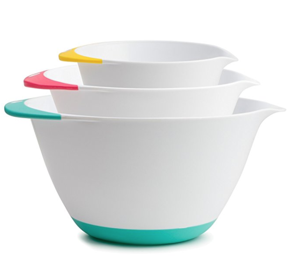 Kukpo Mixing Bowls - Want to keep your kiddo from making a mess in the kitchen? These mixing bowls have a handy handle as well as a non-slip coating on the bottom.