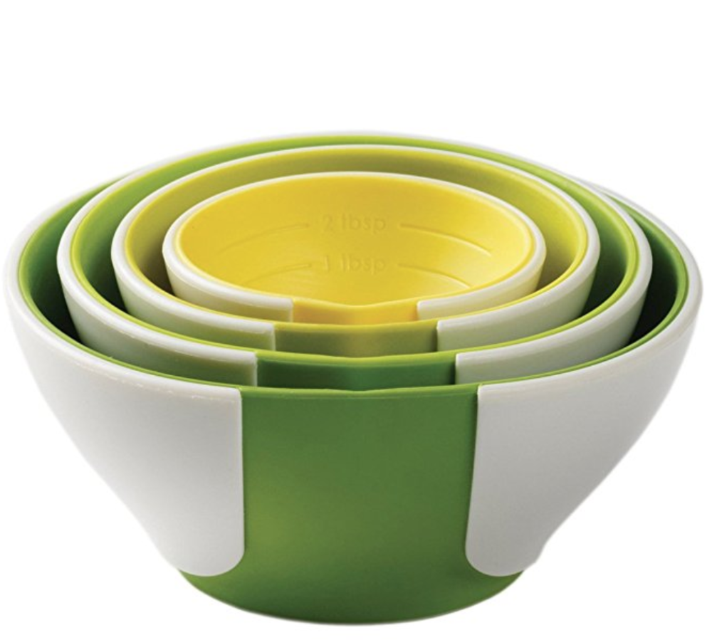 Chef'n Pinch Prep Bowl Set - Little hands might find these bowls easier to grasp, and the pinching function makes ingredients easier to pour. Measurements are marked inside, so these double as dry measuring cups as well!