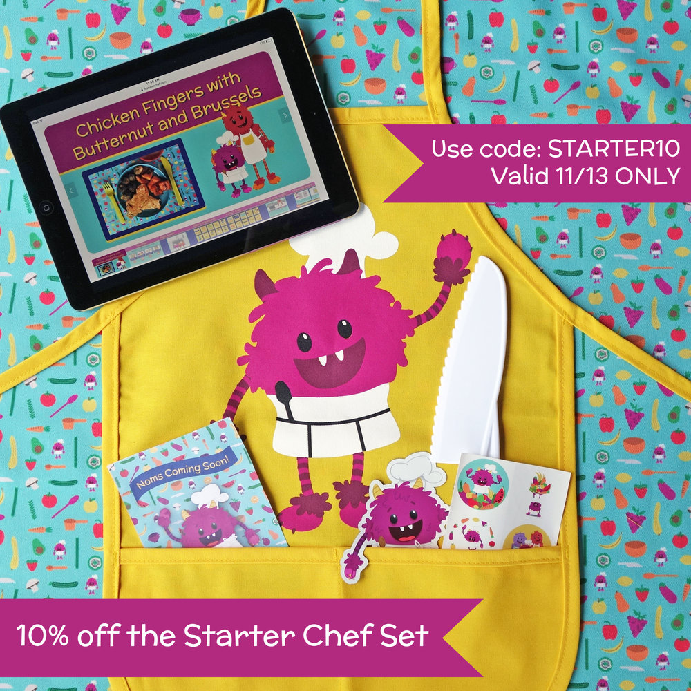 "10% off Starter Chef Set - Valid until midnight PST Tuesday 11/13Enter code ""STARTER10"" at checkout"