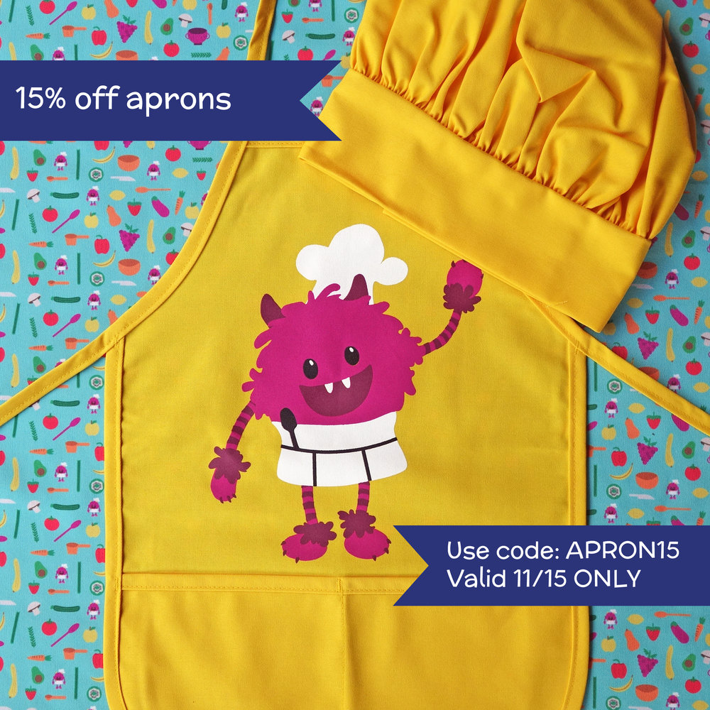 "15% off aprons - Valid until midnight PST Thursday 11/15Enter code ""APRON15"" at checkout"