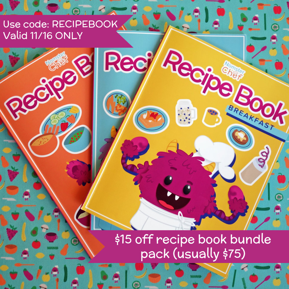 "$15 off Recipe Book Bundle - Available to first 10 customers onlyValid until midnight PST Friday 11/16Enter code ""RECIPEBOOK"" at checkout"