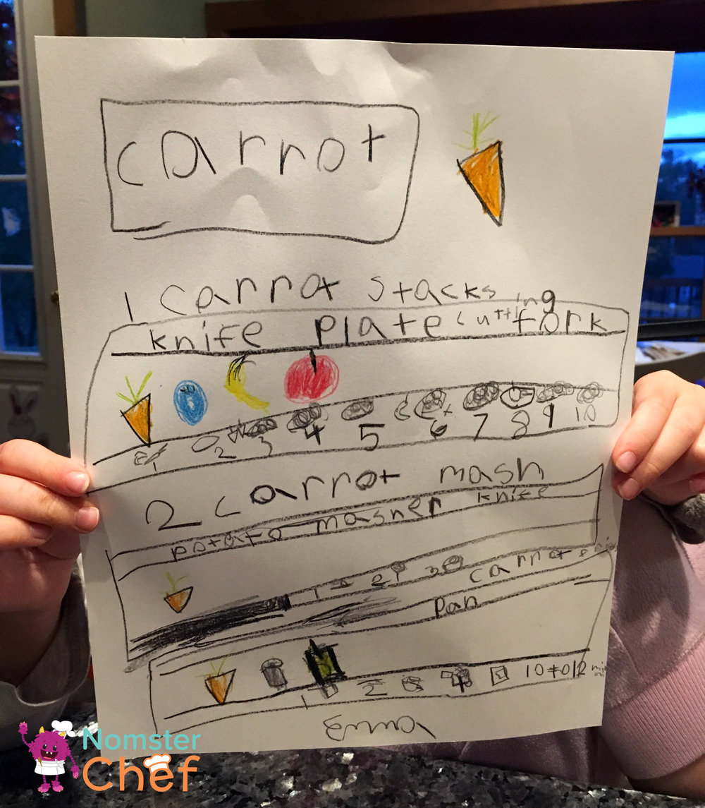 Emma's ideas for carrot dishes: 1) Carrot Stacks 2) Carrot Mush (she wanted to provide a tasty treat to any babies that stop by 3) Carrot Fries (she remembered that other veggies could be fries and wanted to try out carrots instead of potatoes!).