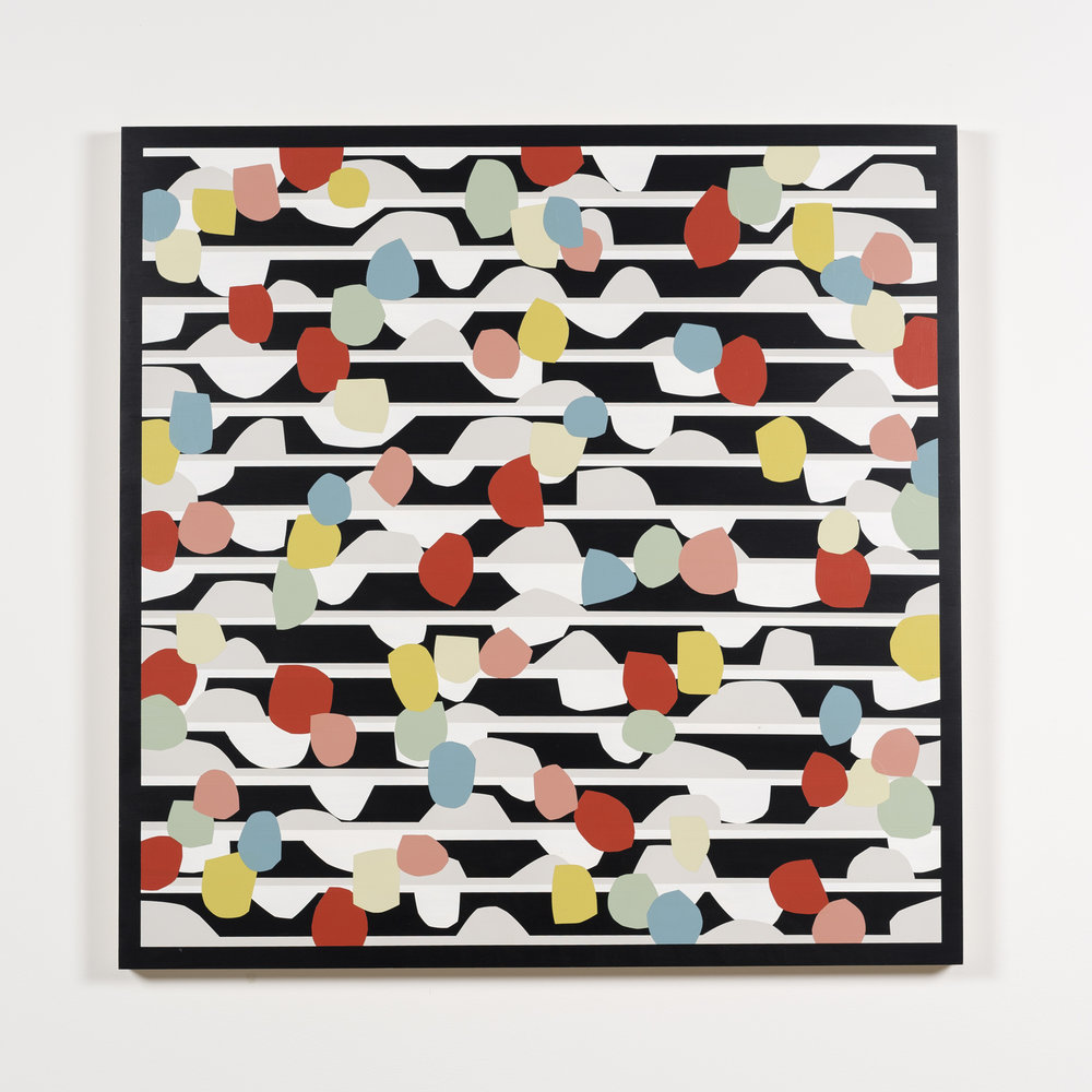 Nick Jaskey Untitled 6, 2015 House paint on wood panel 36 x 36""