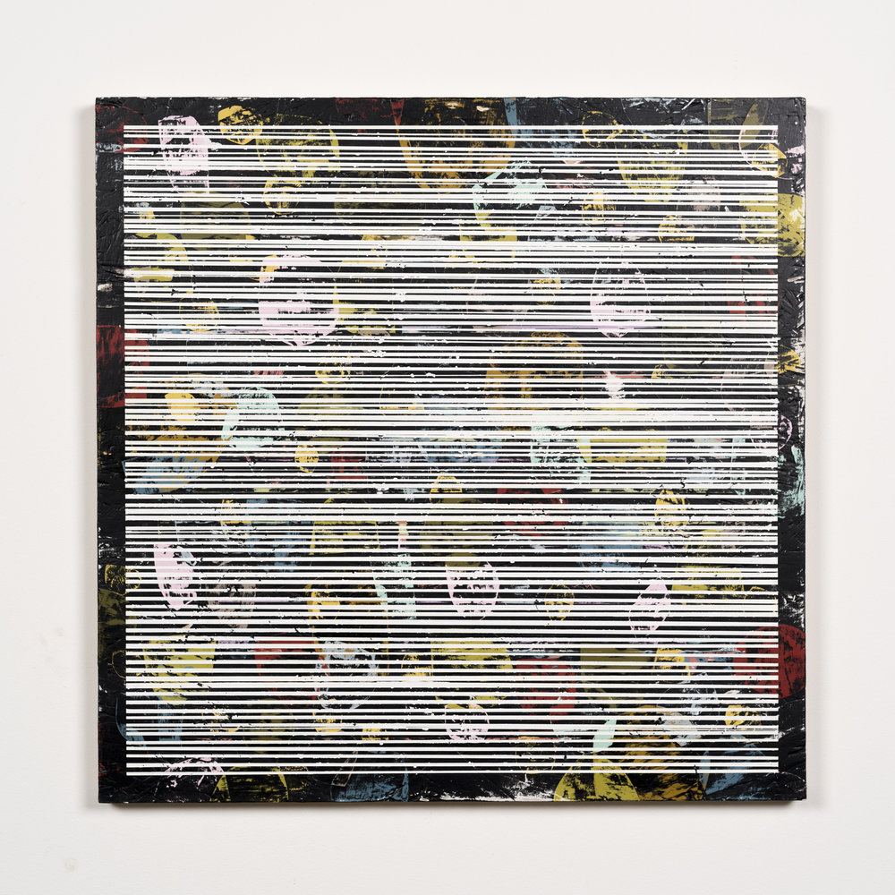 Nick Jaskey Untitled 1, 2015 House paint on wood panel 24 x 24""