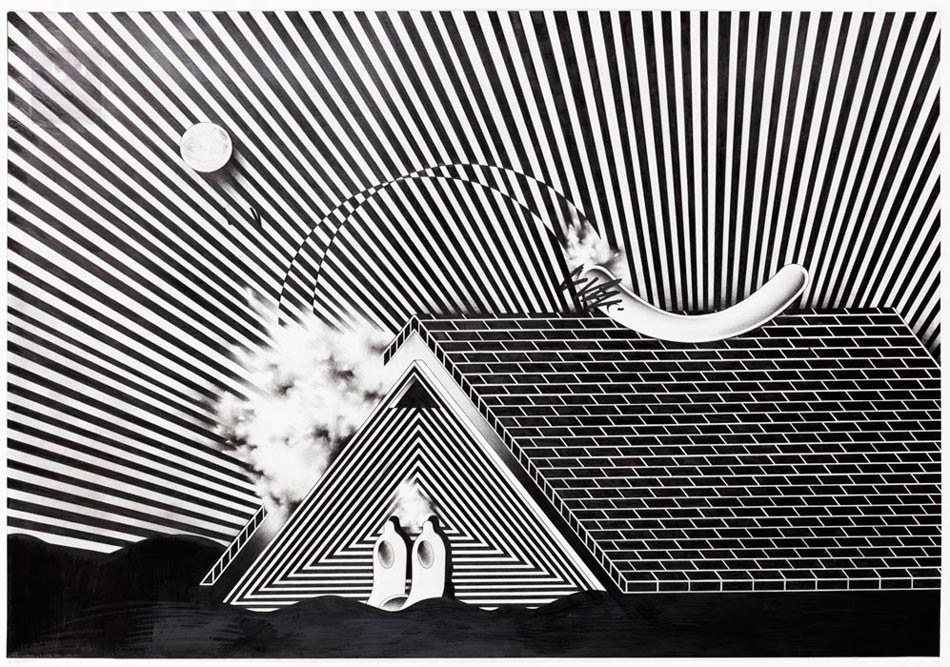 Ryan Travis Christian Roof Off Graphite on paper 29 x 40""