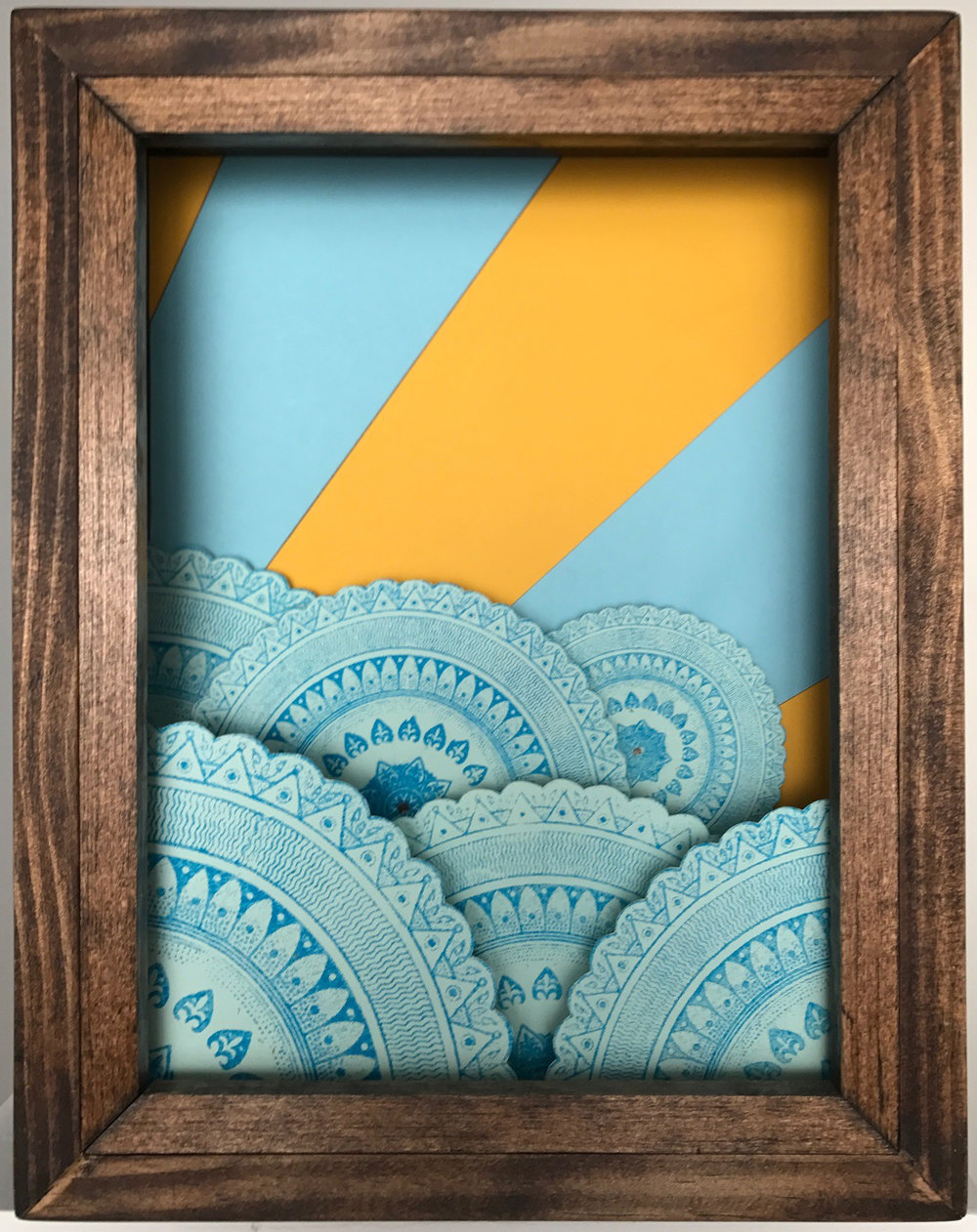 Machination 2 Screen print on paper and cardboard in wooden shadow box 11 x 14 x 3.5 inches