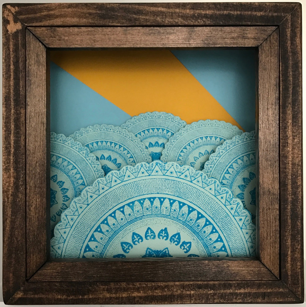 Machination 1 Screen print on paper and cardboard in wooden shadow box 10 x 10 x 3.5 inches