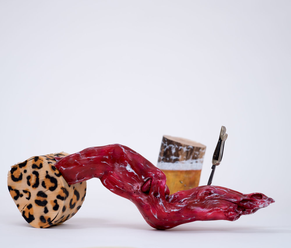 """BRENT OWENS - Sud BusterWood, acrylic paint, and novelty knife7 x 22 x 11""""(variable)PURCHASE"""