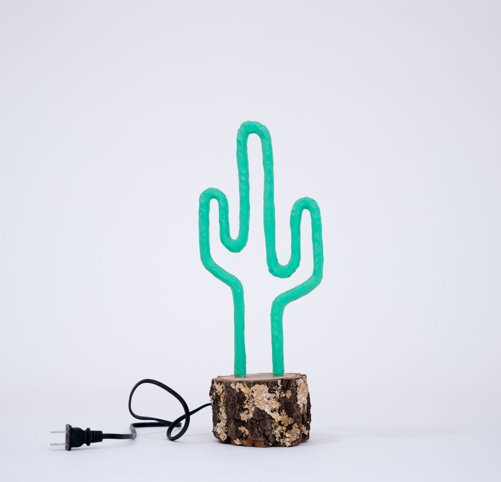 "BRENT OWENS - Lone CactusWood, acrylic lacquer, cord and plug13.5 x 6 x 4"" PURCHASE"