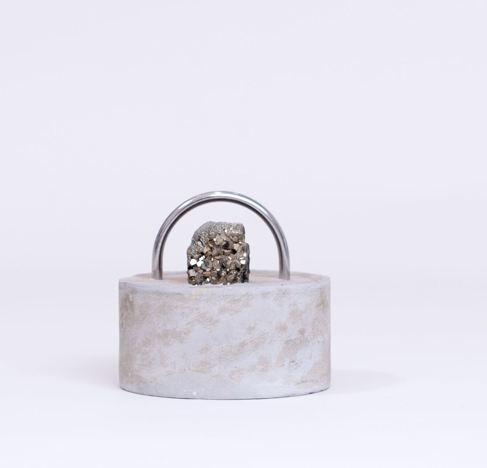 """ESTHER RUIZ - Alloy Setting IICement, stainless steel, pyrite4 x 4 x 5""""PURCHASE"""