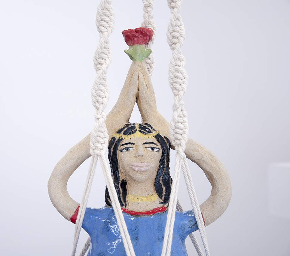 Maryam Yousif - Bratyama (Daughter of the Sea)Glazed ceramic in cotton cord macrame78