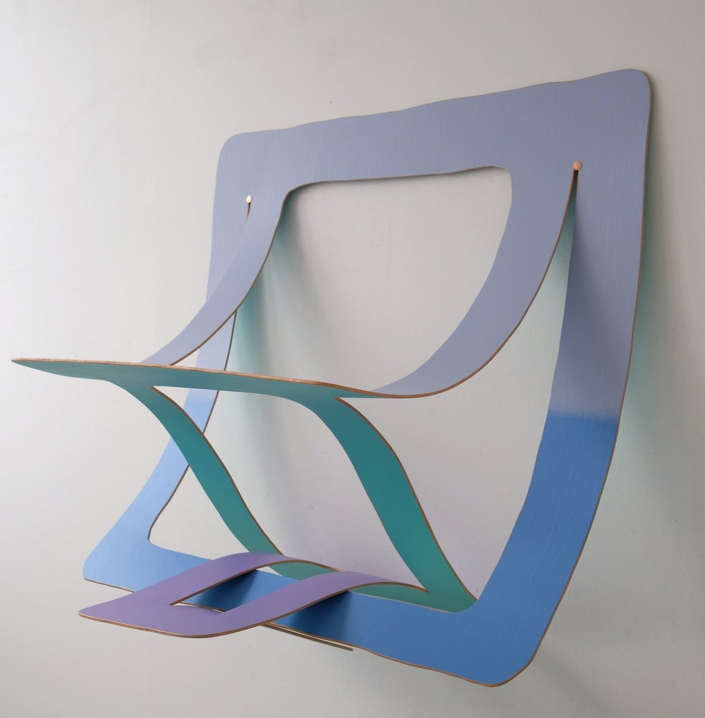 Clip - acrylic on bending poplar and copper nails23.5