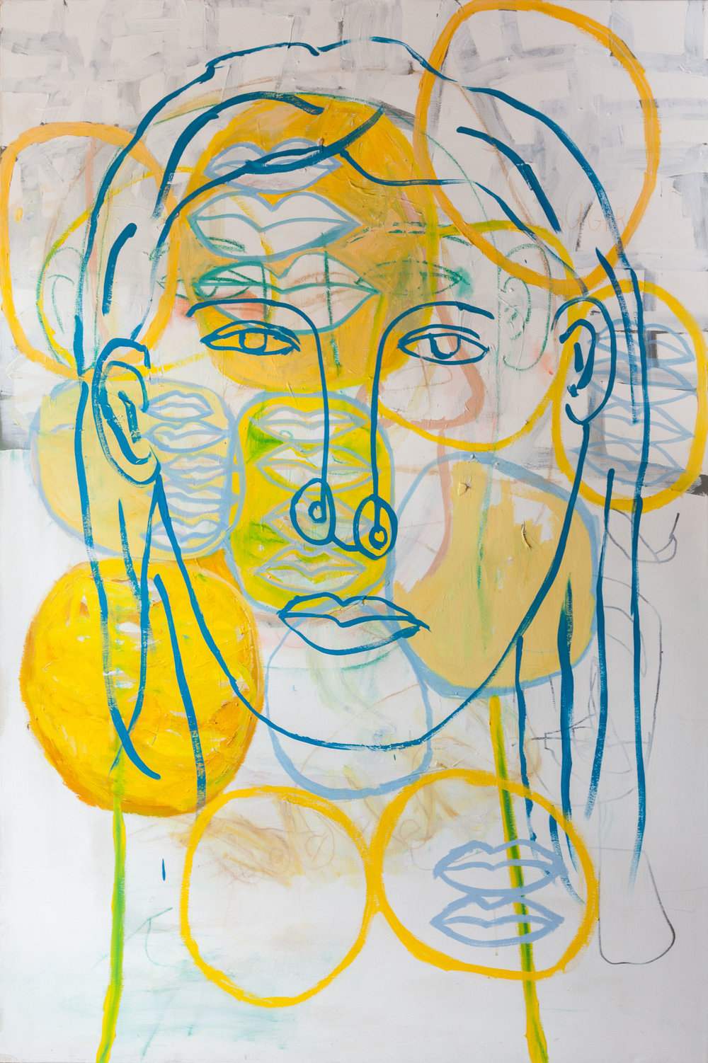 Woman's Head - Acrylic and marker on canvas72 x 48 inches(Click on image for detail)