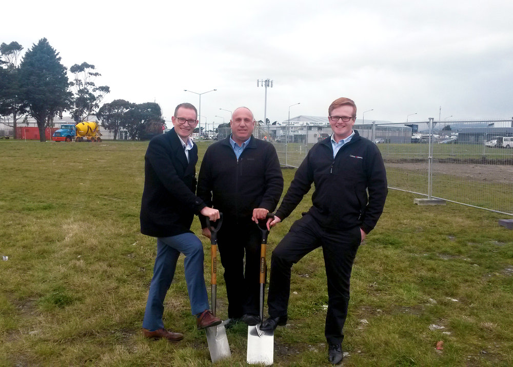 Left to right: David Cresswell of EPOCH Property, Paul Hauschild of YHI (NZ) Ltd & Ben Langan of Calder Stewart Development at the site of the new YHI Christchurch Building