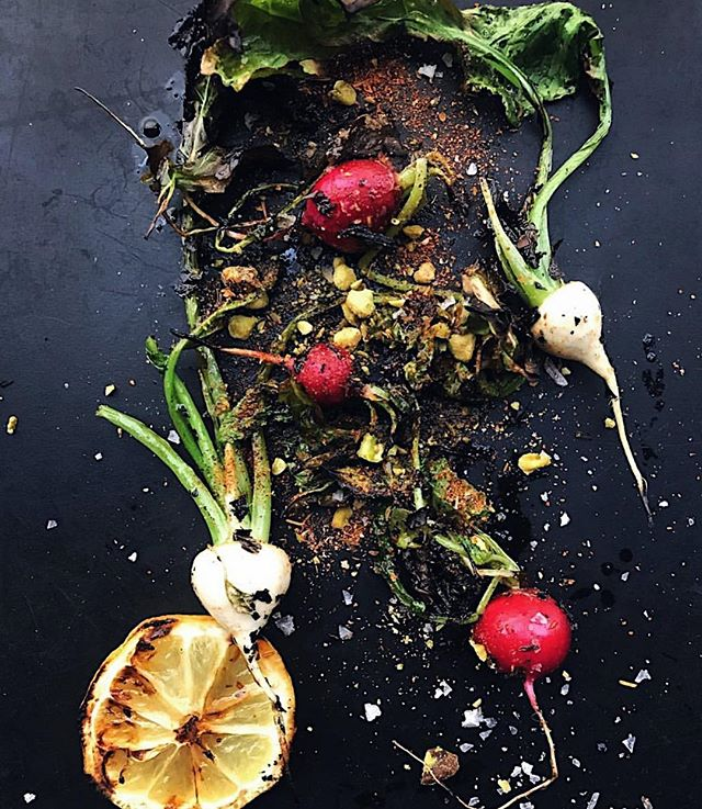 This week's amuse: baby turnips and radishes with pistachio-kombu dukkah and grilled lemon. Come in for @dinela! Menu links in profile. 📷: @chefjosefcenteno