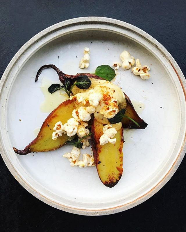 Satsuma sweet potato, jujube butter, chile popcorn �?�🌶�?�