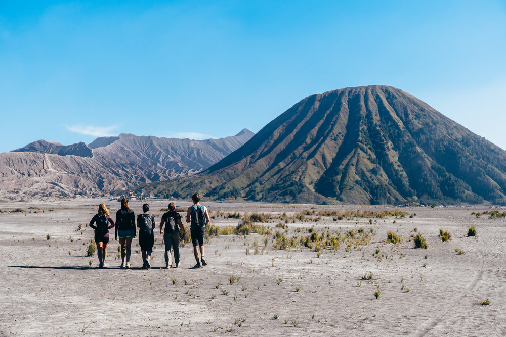 Crossing the Sea of Sand. To the left, Bromo's Crater