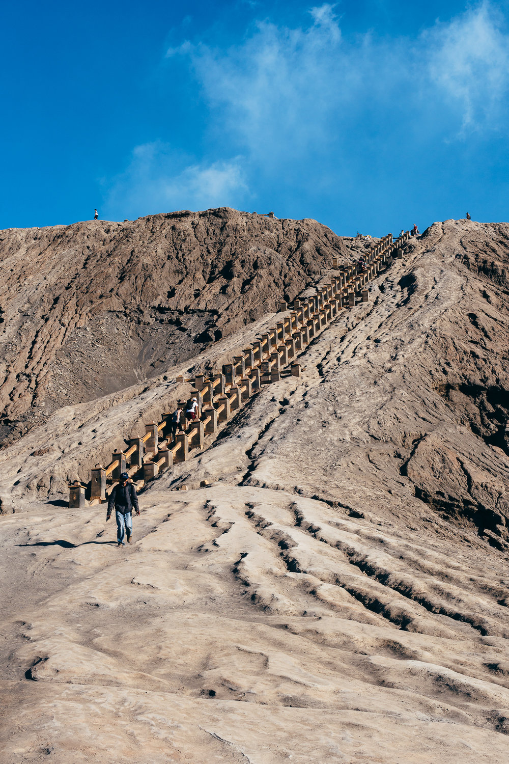 Stairs to get to the crater of Mount Bromo.