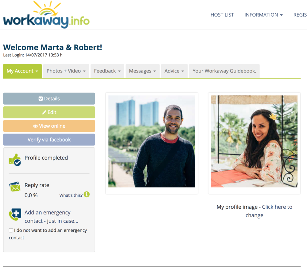Our profile on Workaway!