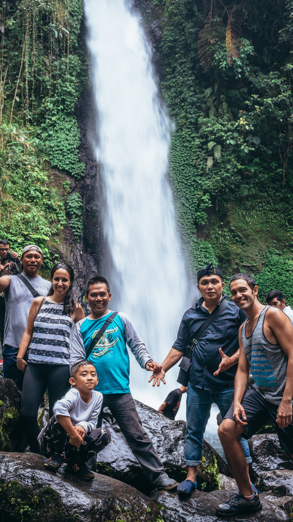 Visiting the waterfall in Sukabumi during our Workaway experience!
