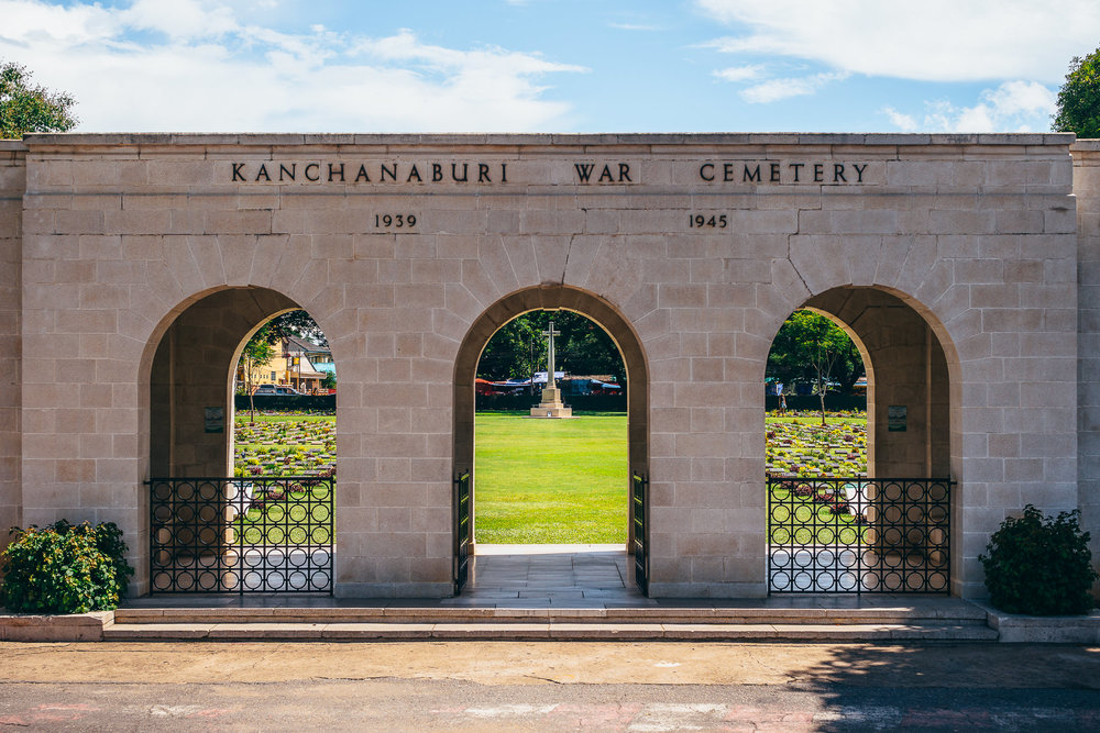 Kanchanaburi War Cemetery, a burial site for almost 7,000 POWs (mostly Australians, the British, and Dutch).