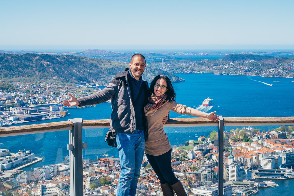 Norway spoiled us as a first stop — the views, the city, and the people. This is the viewpoint of Bergen after riding up the Floibanen cable car.