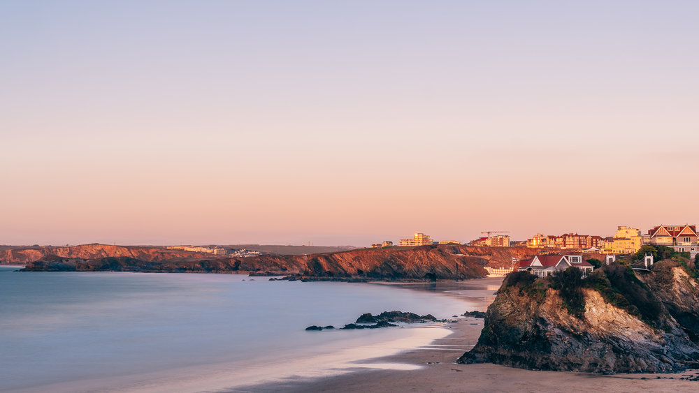 The sun setting over the beautiful town of Newquay.