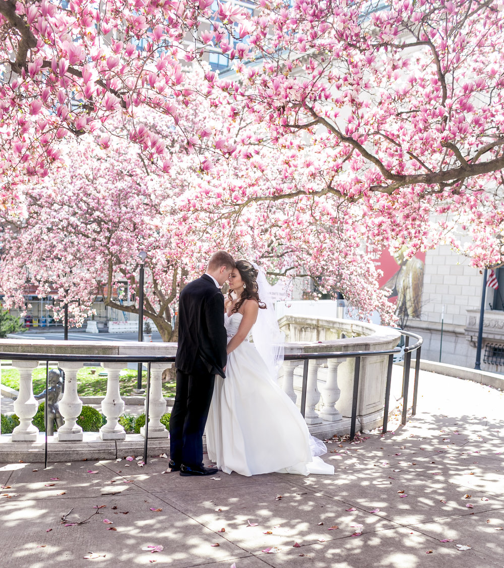 Bride and Groom cherry blossoms