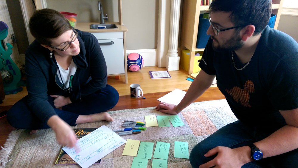 Getting to know the birth world - We interviewed a variety of doulas, midwives, and perinatal specialists to establish an understanding of birth work. We used card sorting and collaborative sketching to flush out priorities in doulas' lives and practices and areas for improvement.