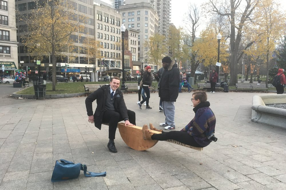 A Mormon missionary and Alix playing.