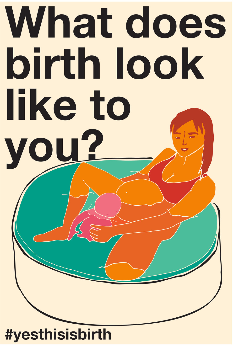 "A person giving birth in a water tub, cCaptioned ""What does birth look like to you? #yesthisisbirth."""