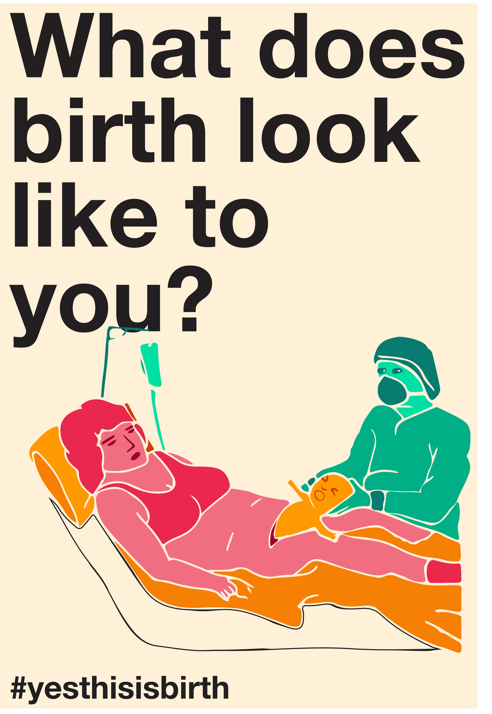 "A person having a C-section, captioned ""What does birth look like to you? #yesthisisbirth."""