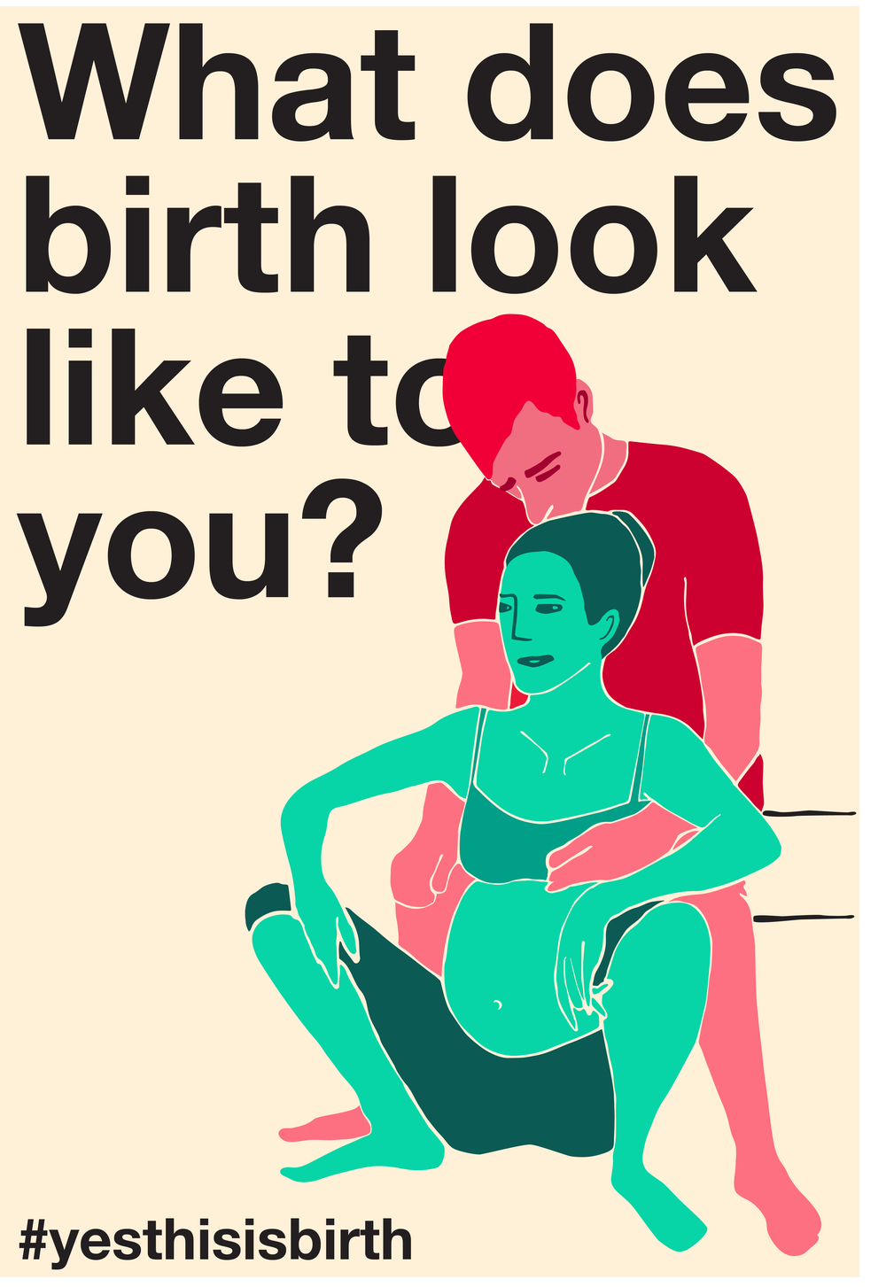 "A person in labor squats with their partner behind them. Captioned ""What does birth look like to you? #yesthisisbirth."""
