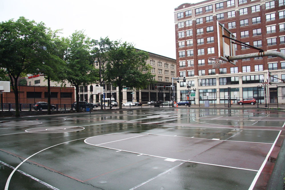 Designing for community spaces - Our team received a grant from the Kresge Foundation to develop community-approved air quality improvement interventions for Reggie Wong Park, a community hub of Chinatown where residents gather to play 9-man and basketball. The park is located between highways I-90, I-93, and South Station.