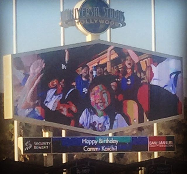 Look at the jumbo ton. Can you see Ben!!! That little girl in front is lucky Ben's cuteness helped get her on the screen. #dodgers @bossygraci @cburris36