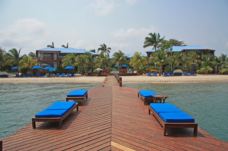 The dock and beach in front of Chabil Mar Villas