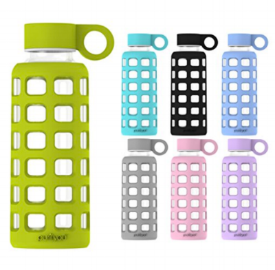 Purifyou Glass Water Bottles  come wrapped in silicone in sleek black and gray as well as brights like my fave, chartreuse green.