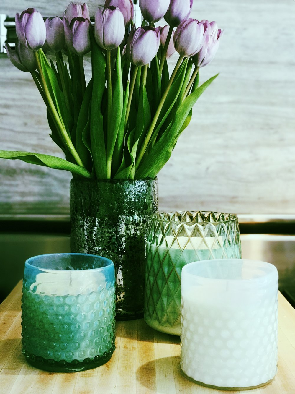 Wax Candle Bar  candles  in pretty, reusable containers.
