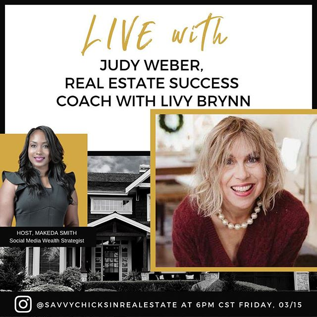 We are back it today! Savvy Chicks set your reminders tonight to join me and Judy Weber, Real Estate Coach with @livygirls Girls' Guide to OUTRAGEOUS Real Estate Success at 6pm CST for an in-depth conversation on the importance of confidence and how you project it in your business even when you're just starting out. We will also be discussing one of the largest gathering of Women in Real Estate happening in DC next month. See you soon IG over here👉🏾 @savvychicksinrealestate — with Judy Weber. . . . . . . . . . . . ˙ #achievesuccess #achievegreatness #communityovercompetition #community #sisterhood #sistersinrealestate #realestateagent #womeninrealestate #ladiesofrealestate #realestatelife #realestate #topproducer #savvychicksinrealestate #savvychicks #bosslady #girlboss #ladyboss #realestatecoach #livygirls #shesunstoppable #forwomenbywomen #womenempowerment #realestatemom #realtors #realestatepodcast #podcasting #realestatenews #realestatetips #realestatemarketing